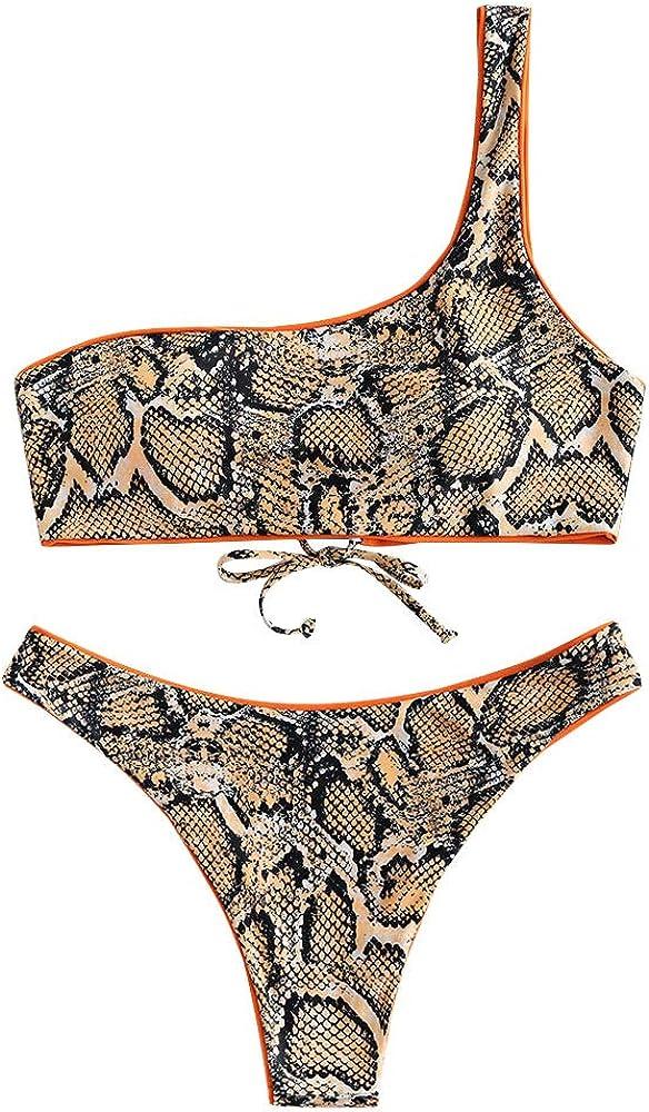 ZAFUL Women's One Shoulder Snakeskin Print Two Piece Bikini Set Swimsuit