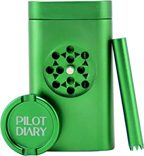 Pilot Diary Portable Stash Holder Aluminum Magnetic Lid for Smell Proof | Special Design with Mini Grinder, Malachite Green