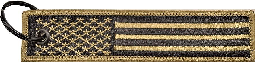 Big Rock Tags Custom Embroidered American Flag Desert Tan Key Chain