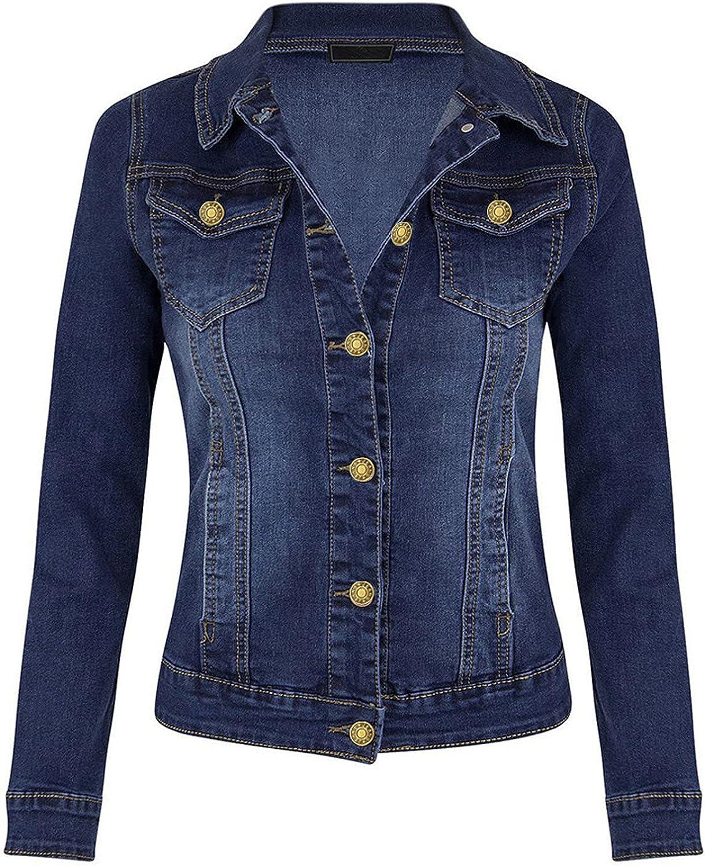 VonVonCo Cardigan for Women Fashion Casual Coat Long Sleeve Pocket Button Denim Jacket Coat Tops