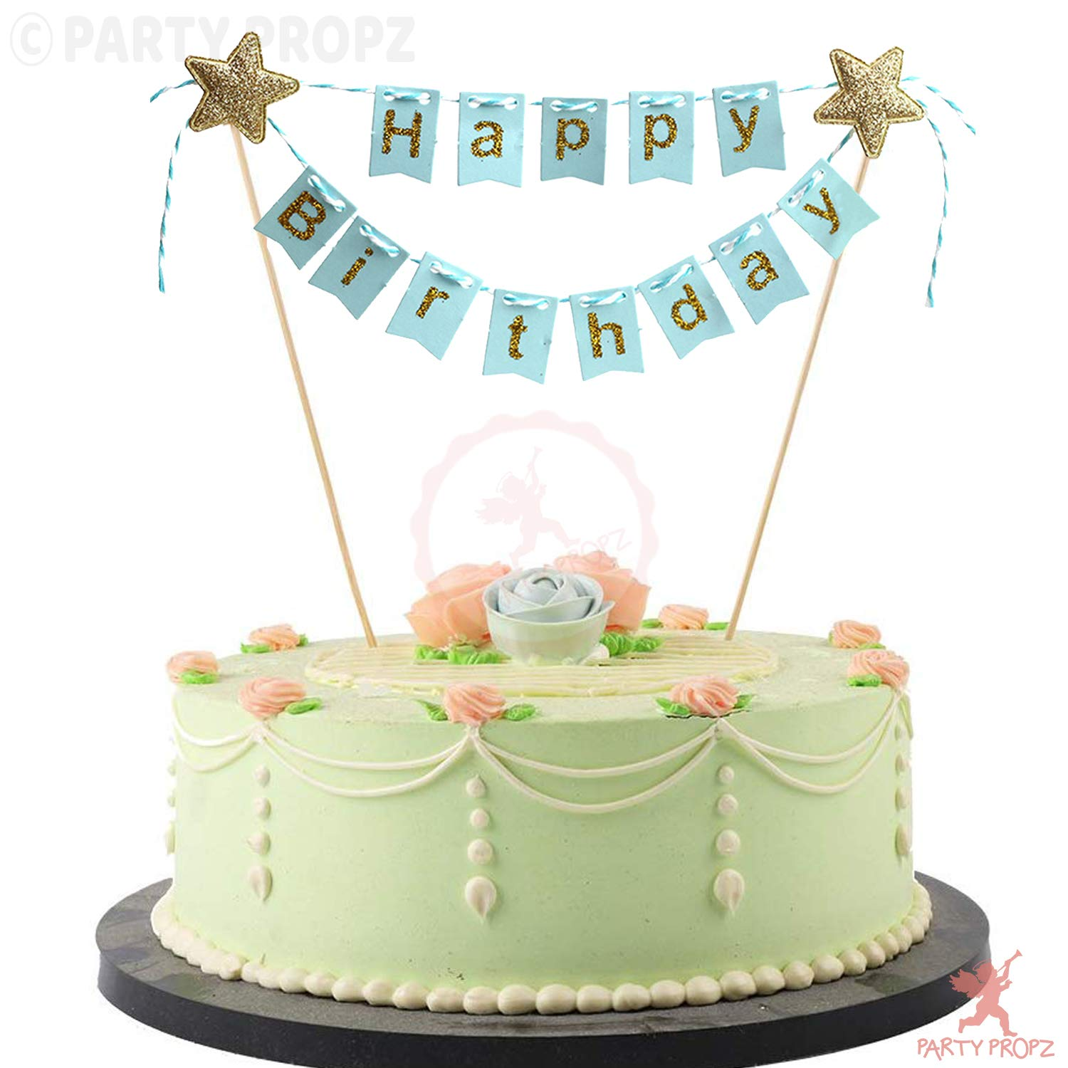 Party Propz Blue Golden Glitter Happy Birthday Cake Topper For Birthday Decoration Birthday Cake Topper For Girls Buy Online In Congo At Congo Desertcart Com Productid 168330158