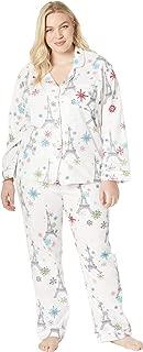 BedHead Womens Plus Size Long Sleeve Classic Notch Collar Pajama Set