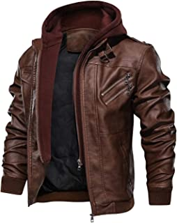 HOOD CREW Men's Casual Stand Collar PU Faux Leather Zip-Up Motorcycle Bomber Jacket with a Removable Hood