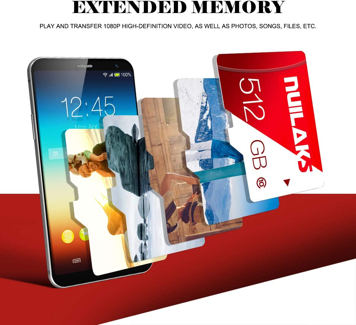 512GB Micro SD Card with Adapter (Class 10 High Speed), Memory SD Cards for Camera, TF Memory Card for Phone Computer Game Console, Dash Cam, Camcorder, Surveillance, E-Reader, Drone…