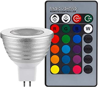 RGB Multi Color LED MR16 Floodlight Kit, 60° Beam Angle MR16 Bulb with GU5.3 Base, 2 24-Key IR Remote Controls, AC 12V 3W ...
