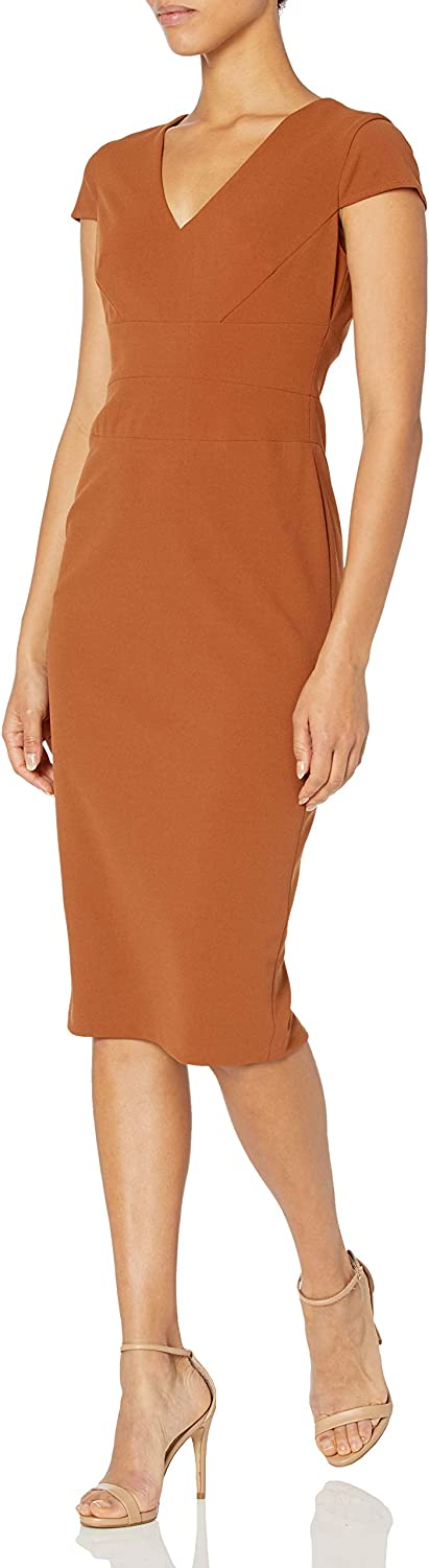 Donna Morgan Women's Cap Sleeve Fitted Crepe Sheath Dress