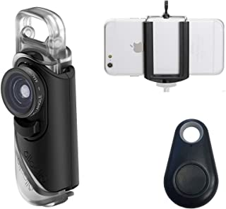 olloclip with 2-in-1 Essential Lens Kit Includes Wide Angle + Macro Lenses - Compatible with iPhone 7 Plus, iPhone 8 Plus + Selfie Bluetooth Remote Shutter and Smartphone Holder Tripod Adapter