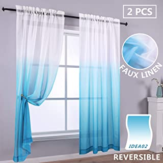 KOUFALL Reversible Ombre Curtains Blue and White Sheer Curtain Panel Gradient Nautical Themed Patterned Curtains for Baby Nursery Boys Bedroom Living Room 52 x 84 Inch Length Light Lake Blue
