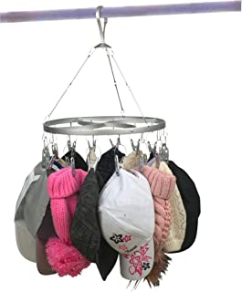 Hat Rack, Easy-Access Rotating Hat Organizer Holds 16 Hats, Attractive Hat Hanger, Baseball Cap Rack with Strong Clips So Hats Stay Put, Silver