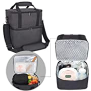 Luxja Breast Pump Bag with 2 Insulated Compartments for Breast Pump and Cooler Bag, Pumping Bag for Working Mothers (Fits Most Major Breast Pump), Black