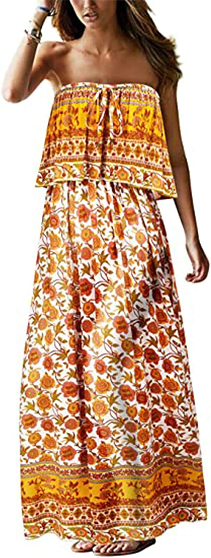Bohemian Floral Print Tube Long Dress for Women Elastic Top Off Shoulder Flowy Long Beach Dress