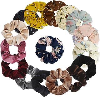 Jaciya 16 Pack Hair Scrunchies Velvet Chiffon Elastics Scrunchy Bobbles Soft Elegant Elastic Hair Bands Hair Ties, 16 Pieces