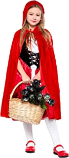Girls Classic Red Riding Hood Halloween Costume Red Dress with Hooded Cape Cosplay