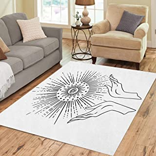 Semtomn Area Rug 5' X 7' Beautiful Hand is Holding Eye of Providence Tattoo Mystic Home Decor Collection Floor Rugs Carpet for Living Room Bedroom Dining Room