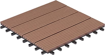 EUGAD 22x Suelo de Exterior WPC 30x30cm Terrazas del Piso 22 Set 2m/² Baldosas de Madera para Jardin Terraza Marr/ón