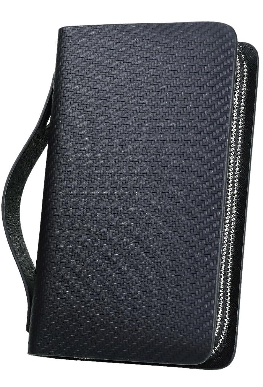 オズワルド抑止する締め切り[High-end] イタリア製 スペイン製 カーボンレザー 本革 セカンドバッグ 財布 YKK ダブルファスナー ME0049_d