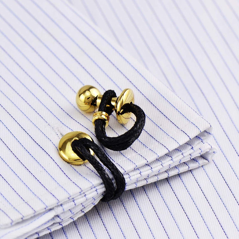 Daesar Copper Cufflinks for Men Cufflinks Shirt Studs Braided Leather Cufflinks for Groom Black