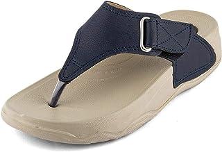 WELCOME Women Blue Leather Slippers-6 UK (39 EU) (8 US) (Blue6uk)