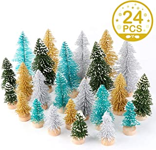 OurWarm 24Pcs Multicolor Mini Christmas Trees, Bottle Brush Trees, Artificial Frosted Sisal Christmas Tree for Christmas Table Top Decor, Small Simulation Plant Snowy Mini Xmas Decorations