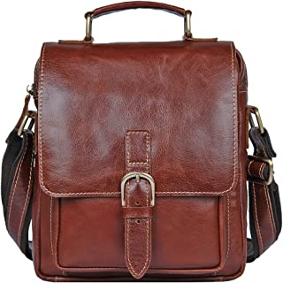 Genda 2Archer Men's Leather Small Messenger Crossbody Bag Shoulder Sling Pack
