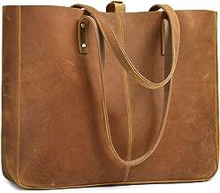 S-ZONE Genuine Leather Shoulder Tote Bag for Women Large Handbag Work Purse