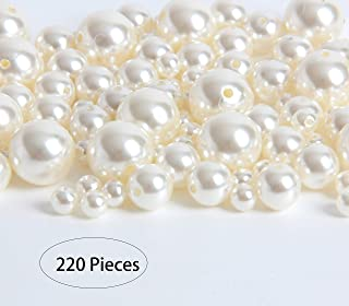 Hapy Shop 220 Pcs 3 Sizes Ivory Pearl Beads ABS Loose Beads Elegant Glossy Polished Pearls for DIY Jewelry Necklaces, Vase...