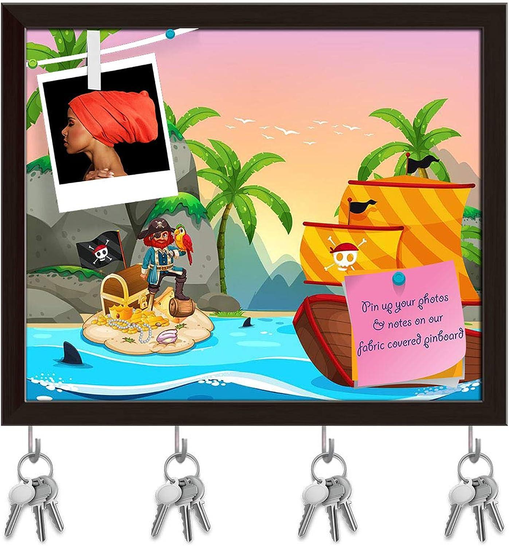 Artzfolio Ocean Scene with Pirate & Treassure Key Holder Hooks   Notice Pin Board   Dark Brown Frame 19.4 X 16Inch