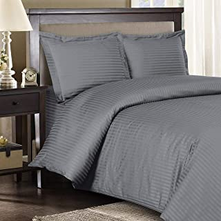 Royal Hotel Stripe Gray 3pc King/California-King Comforter Cover (Duvet Cover Set) 100-Percent Cotton, 500-Thread-Count, Sateen Striped