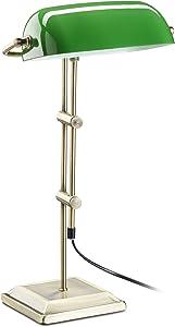 Relaxdays Bankerlampe grün, Tischlampe Glas, Dekolampe Retro, Tischlampe Messing Optik, HxBxT: 52 x 27 x 18 cm, bronze