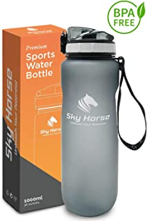 SKY HORSE 1 Liter (32 Ounce) Premium Sports Water Bottle with Leak Proof Flip Top Lid – Fast Water Flow – Eco-Friendly, BPA Free