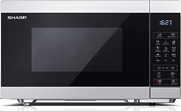 Sharp YC-MG81ES Microondas con Grill de 28 L de Capacidad con Pantalla Táctil Electrónica y Cavidad Cerámica Esmaltada, 11 Niveles de Potencia de Microondas, 900 W y Grill de 1100 W