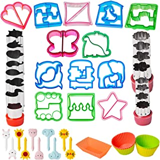 Sandwich Cutter Set 52pcs for Kids Bento Lunch Box, 13 Fun Sandwich Bread Crust Press, 12 Flowers and Animals Vegetable Fruit Cutters– Bonus 10 Food Picks & 10 Silicone Cup Dividers for Boys & Girls