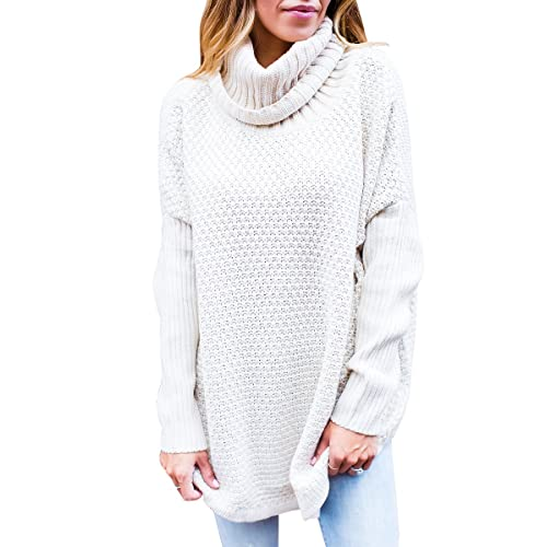 809b806323 VOKY Womens Long Sleeve Sweaters Knitted Cowl Neck Loose Fit Oversized  Pullovers Tops