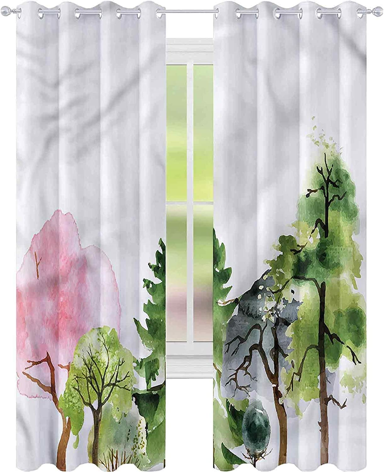 Window Curtain Drape Forest Colorful Woodland W42 Superior x L Willow Oak Ranking TOP19