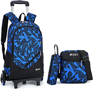 Adanina 3Pcs Geometric Prints Elementary Students Rolling Backpack School  Bag with Wheels Trolley Book Bag Carry 526a476dc3e1f