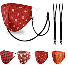 4 Packs Cotton Face Mask with Nose Wire, 3D Shape, Adjustable Earloop, Washable and Reusable