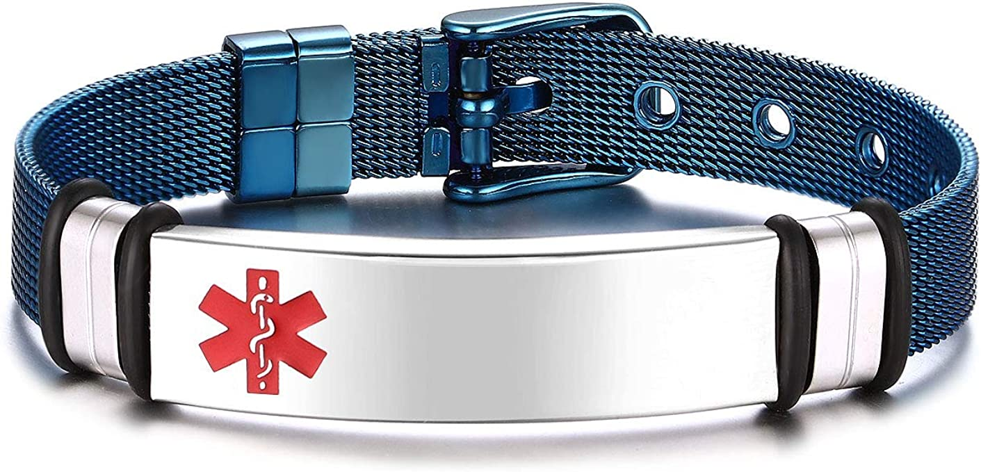 JF.JEWELRY Blue Plated Regular discount Stainless Steel Medical Alert Outlet SALE I Mesh Band