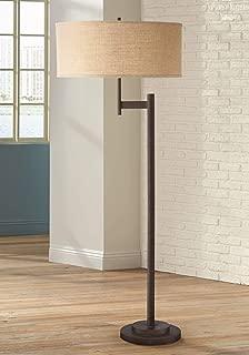Parker II Light Blaster Modern Floor Lamp Oil Rubbed Bronze Metal Burlap Drum Shade for Living Room Reading Bedroom Office - Possini Euro Design