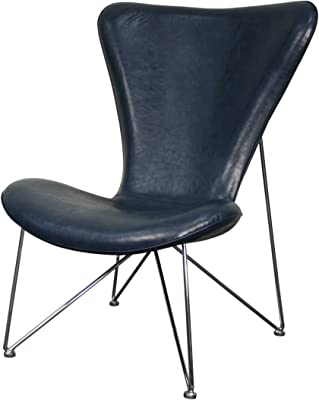 New Pacific Direct Corbett PU Leather Lounge Chair, Chrome Frame, Distressed Blue