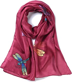 Invisible World Women's 100% Mulberry Silk Scarf Long Hand Painted Dragonfly