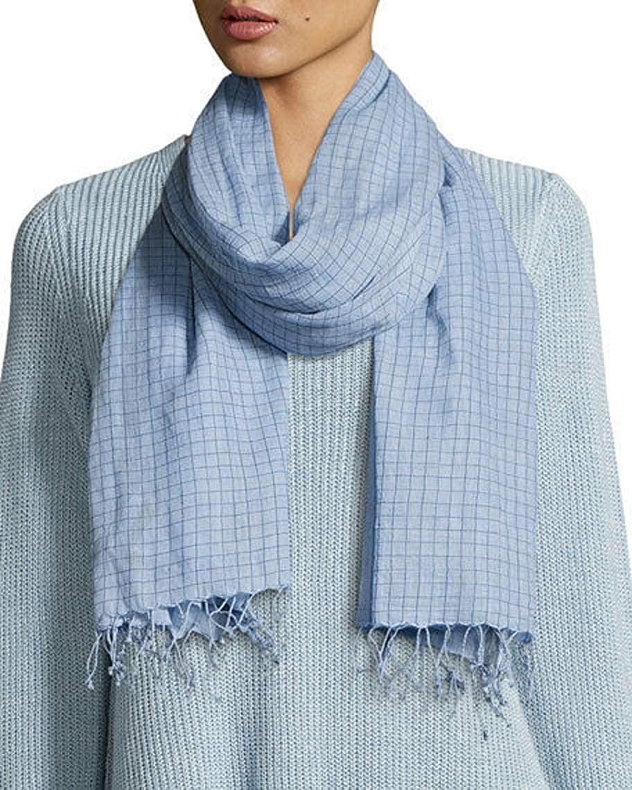 Eileen Fisher Hand-Loomed Organic Cotton Checkerboard Scarf, Morning Glory MSRP $128