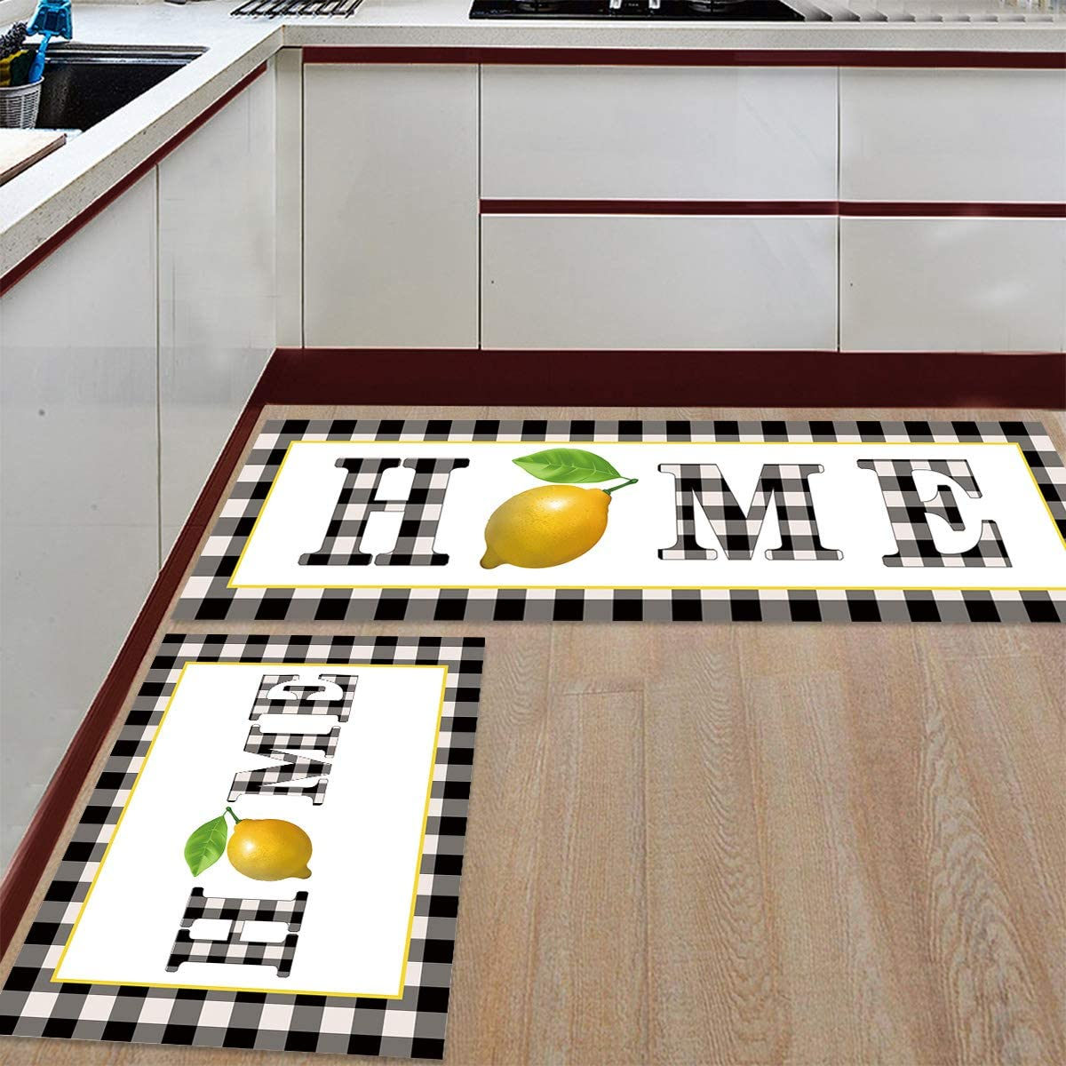 Advancey 2 Pieces Anti-Slip Kitchen Mats Bla Home Limited time for free shipping Lemon Fruit Super special price on