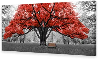 Muolunna BK1075 Wall Art Decor Large Canvas Print Picture Red Trees 1 Panel Black and White Landscape Modern Painting Artwork for Office Wall Decor Home Decoration