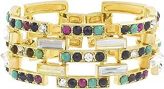Steve Madden Multicolor Rhinestone Rectangle Shaped Yellow Gold-Tone Link Bracelet for Women