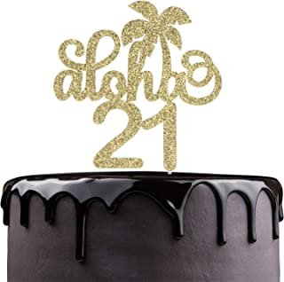 Aloha 21st Birthday Cake Topper - Gold Glitter 21 Years Wedding Anniversary Supplies - Cheers To Sweet 21 - Hawaii Tropical Party Coconut Tree Decoration
