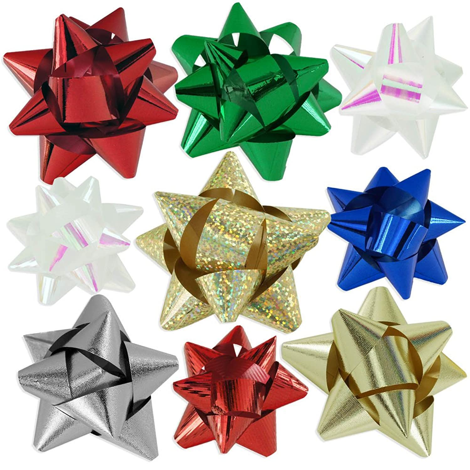 72pc Designer Holiday Christmas Gift Bow Assortment - Elegant Metallic, Iridescent, Holographic, Glitter, Lacquer Finishes
