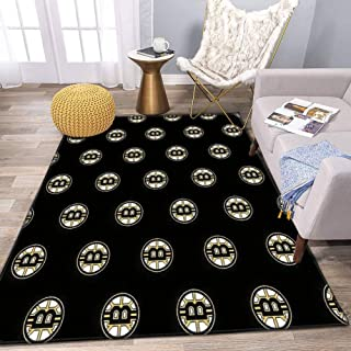 Boston Bitcoins Area Rug and Yoga Carpet for Home Living Room, Large Anti Slip Contemporary Rug for Floor Home Door