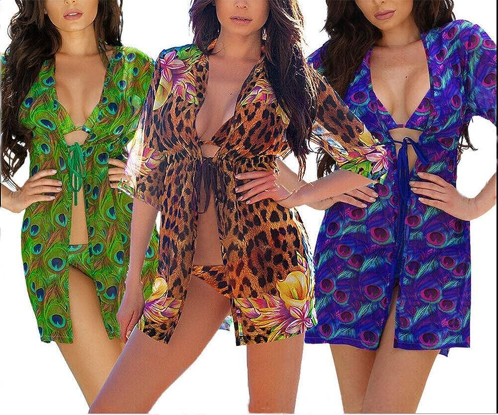 Turuste Women's Bikini Sets Padded Bra Printed Bottom with Long Sleeve Cover-ups 3Pc Swimsuit Bathing Suit