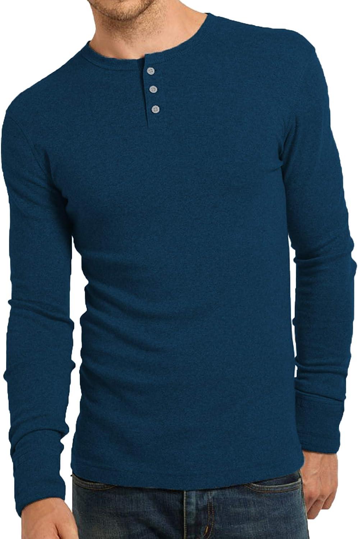 Mens Long Sleeve Cotton Grandad 3 Button Neck Long Sleeve T-Shirt Fit Top
