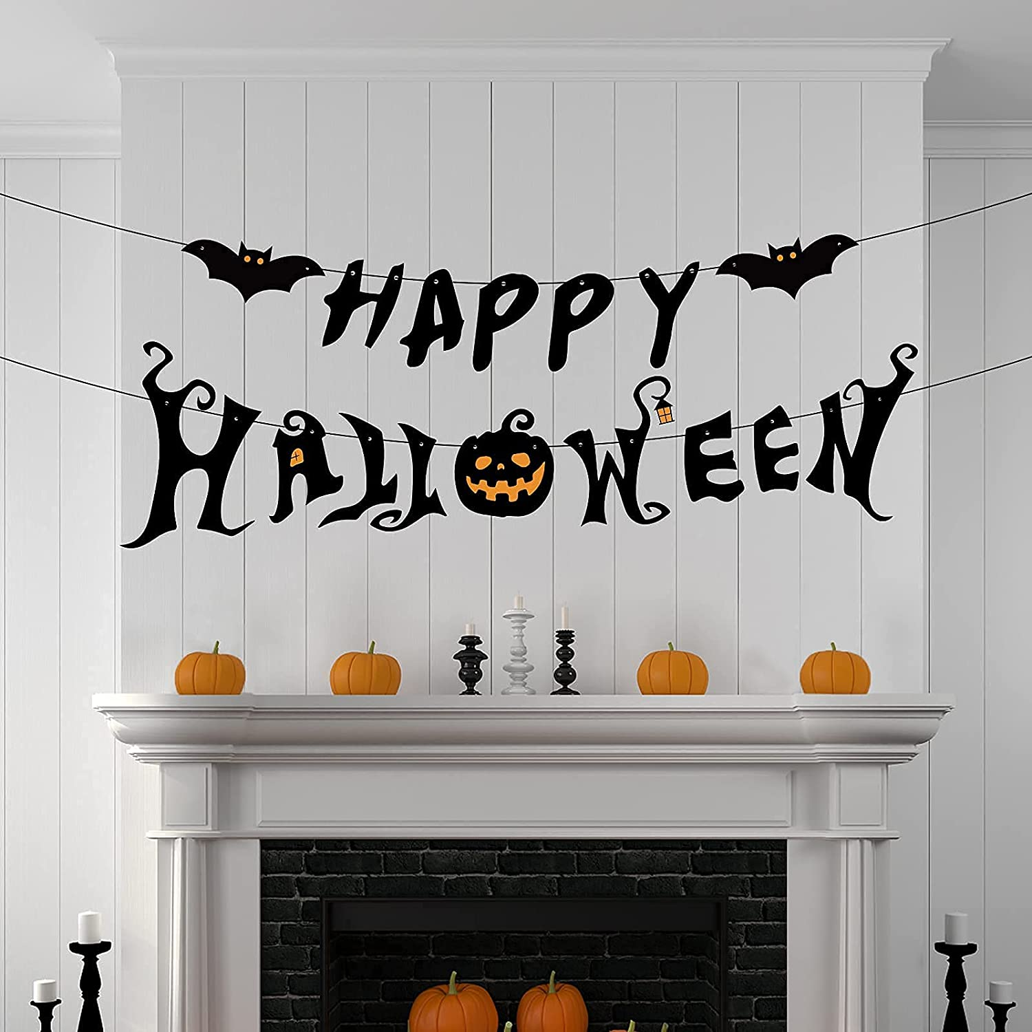 Halloween Party Decorations - Happy Halloween Banner - Halloween Decor Indoor for Home Office Party Fireplace Mantle Garland